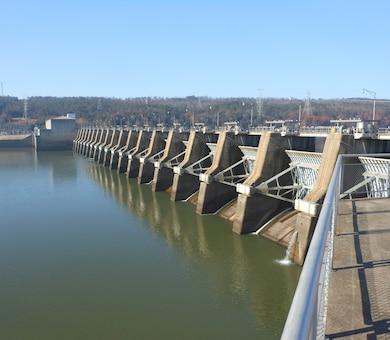 Dardanelle Lock and Dam near Little Rock, Arkansas.