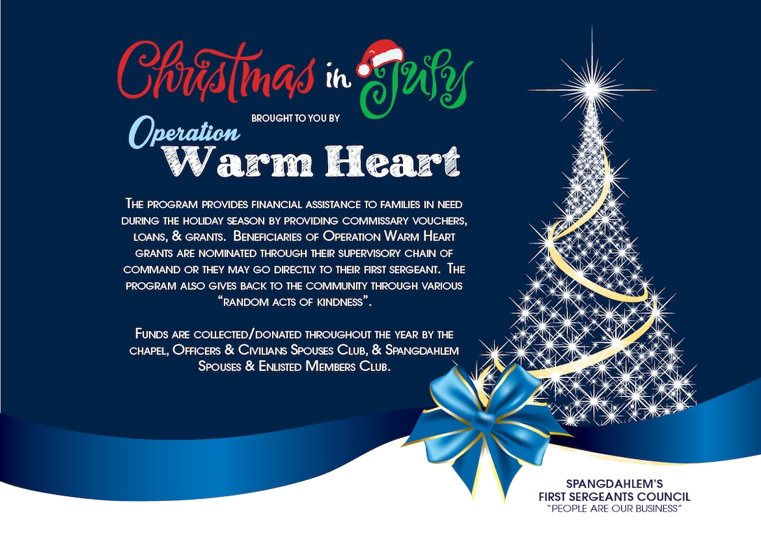 """The First Sergeant Council hosted the """"Christmas in July"""" Operation Warm Heart event July 27, 2014, in the Exchange at Spangdahlem Air Base, Germany. (U.S. Air Force courtesy graphic)"""