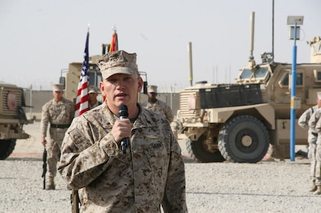 Lt. Col. Sid R. Welch, commanding officer, Combat Logistics Battalion 7, addresses guests during a transfer of authority ceremony held aboard Camp Leatherneck, Helmand province, Afghanistan, Aug. 1, 2014. Combat Logistics Battalion 7 was replaced by CLB-1 as the last unit to aid Regional Command (Southwest) with tactical-level logistical support. Combat Logistics Battalion 1 will close out another chapter in Marine Corps history as the last unit to serve as the logistics combat element for RC(SW).