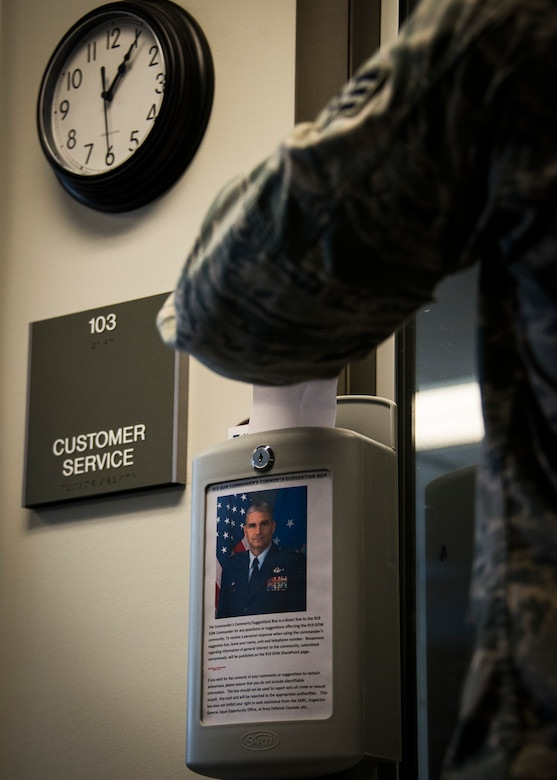 Col. James Phillips, 919th Special Operating Wing commander, has a direct line made available to all personnel through the use of suggestion boxes placed throughout the base such as the dining facility, gym, and customer service.  To receive a personal response when using the commander's suggestion box, leave your name, unit, and telephone number.  Responses regarding information of general interest to the community, submited anonymously, will be published on the 919th SOW SharePoint page. (U.S. Air Force photo/Tech. Sgt. Jasmin Taylor)