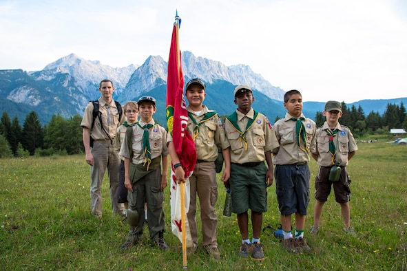 From right to left- Nick Repak, Craig Lillman, Gregory Lunn, Holden McGrew, Evan Karrs, Paul Baker and Aaron Anthony, scoutmaster of Boy Scout Troop 165, pose for a group photo during a weeklong summer camp July 19, 2014, near Garmisch, Germany.  The Boy Scout Troop 165 from Spangdahlem Air Base, Germany, attended a weeklong camp, earning 14 merit badges and 70 requirements for rank advancement. (Courtesy Photo/Released)