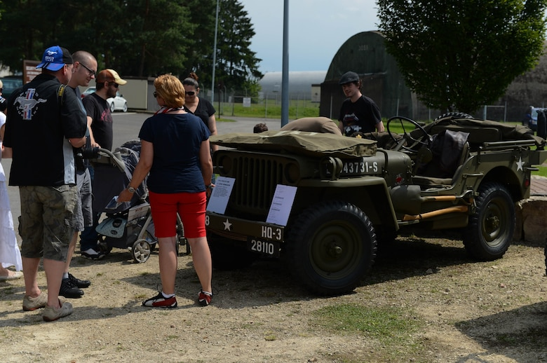 A 1944 Willys Jeep is displayed in the Motor Weekend car show at Spangdahlem Air Base, Germany, Aug. 2, 2014. This military jeep served under the 5th Armored Division in World War II and was later sold as surplus in 1993. (U.S Air Force photo by Airman 1st Class Kyle Gese/Released)