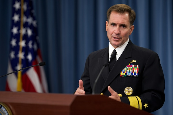 Pentagon Press Secretary Navy Rear Adm. John Kirby briefs reporters at the Pentagon, Aug. 5, 2014. DoD photo by Casper Manlangit