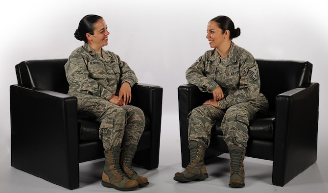 Maj. Liliana Henriquez and Master Sgt. Liesbeth Bowen are sisters who were born in Venezuela and later joined the Air Force. The sisters used programs such as Military Tuition Assistance and Reserve Officer Training Corps scholarships to pursue their education. Henriquez is a Oceana Dam Neck Annex Joint Targeting School joint staff J7 instructor and Bowen is the 633rd Wing Staff Agency first sergeant. The image background has been altered to increase emphasis on the photo subject. (U.S. Air Force illustration/Airman 1st Class Devin Scott Michaels)