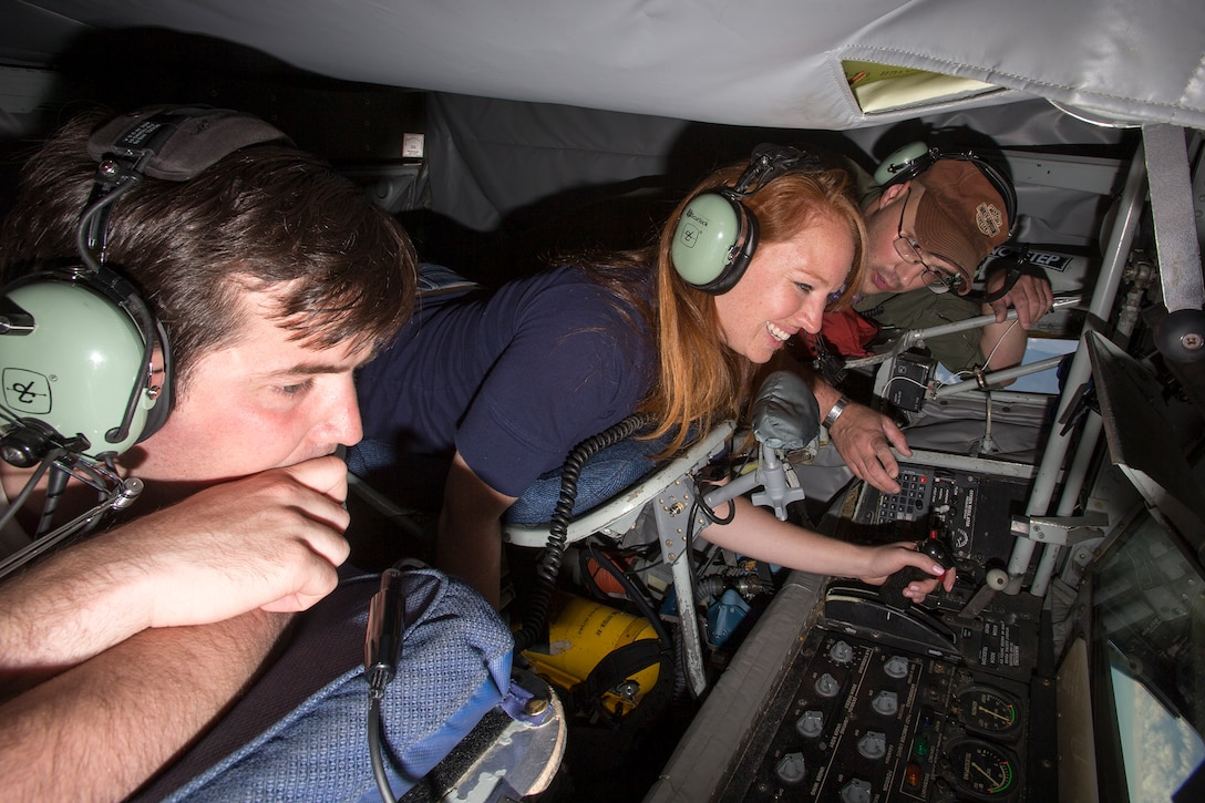 Congressional staffers were given the opportunity to visit the boom pod and receive a tutorial from the boom operator, giving them an up-close look at aerial refueling aboard a KC-135 Stratotanker.Ten staffers from the U.S. House of Representatives visited Edwards Aug. 4-5 to familiarize themselves with the Edwards mission. The staffers work for congressmen who serve on the House Armed Services and House Appropriation Committees. (U.S. Air Force photo by Christian Turner)