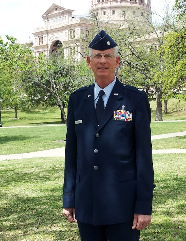 Chaplain (Lt. Col.) Mack Praytor at the Texas State Capitol building in Austin, TX. Chaplain Praytor has been selected as the Texas Military Forces Chaplain, the first Air National Guard officer selected for the position.
