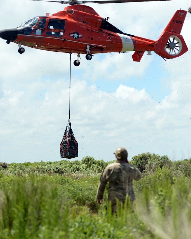 A Tactical Air Control Party member with the 147th Air Support Operations Squadron; 147th Reconnaissance Wing, performs control of a U.S. Coast Guard MH-65 Dauphin during a domestic response resupply exercise June 7, 2014, at Galveston State Park. With the 2014 hurricane season underway, the training allowed the TACPs to exercise response efforts with the Coast Guard members, performing helicopter landing zone operations, aerial resupply and sling load operations.