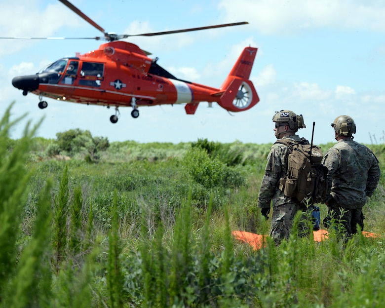 Tactical Air Control Party members with the 147th Air Support Operations Squadron; 147th Reconnaissance Wing, observe a U.S. Coast Guard MH-65 Dauphin land in a landing zone they established during a domestic response resupply exercise June 7, 2014, at Galveston State Park. With the 2014 hurricane season underway, the training allowed the TACPs to exercise response efforts with the Coast Guard members, performing helicopter landing zone operations, aerial resupply and sling load operations.