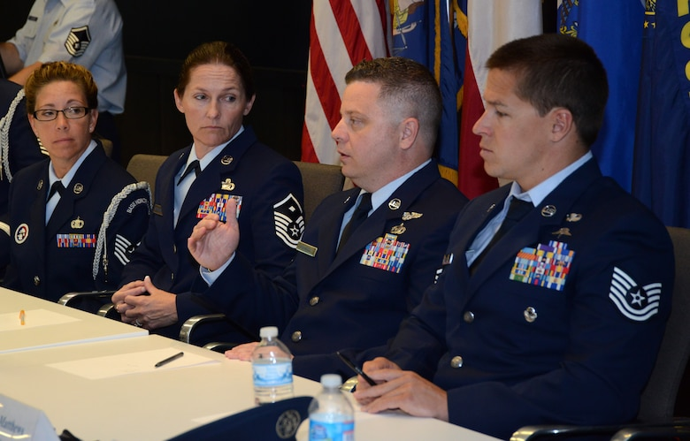 Master Sgt. Joseph Ashwood, The Air National Guard's 2014 Outstanding Senior Non-commissioned Officer of the Year, discusses the stresses many units face supporting extended periods of high operational tempo during the Enlisted Field Advisory Council meeting at the Air National Guard Readiness Center on Joint Base Andrews, Md., Aug. 5, 2014, as part of Focus on the Force week. The OAY Airmen bring the perspective of the 91,000 enlisted Airmen across the ANG to address challenges facing the enlisted force. (U.S. Air National Guard photo by Senior Airman John E. Hillier/Released)