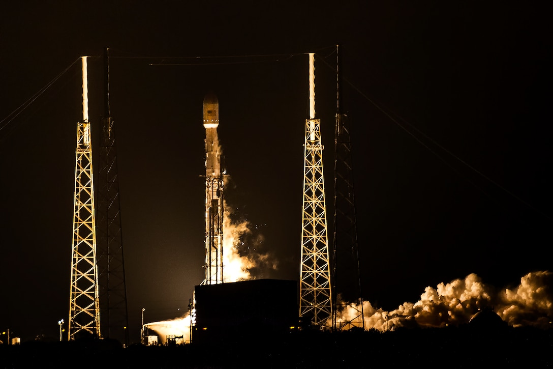 The 45th Space Wing supported Space Exploration Technologies' (SpaceX) successful launch of the Falcon 9 rocket carrying the AsiaSat 8 satellite Aug. 5 at 4 a.m. from Space Launch Complex 40, Cape Canaveral Air Force Station, Fla. (Courtesy photo/John Studwell/AmericaSpace)