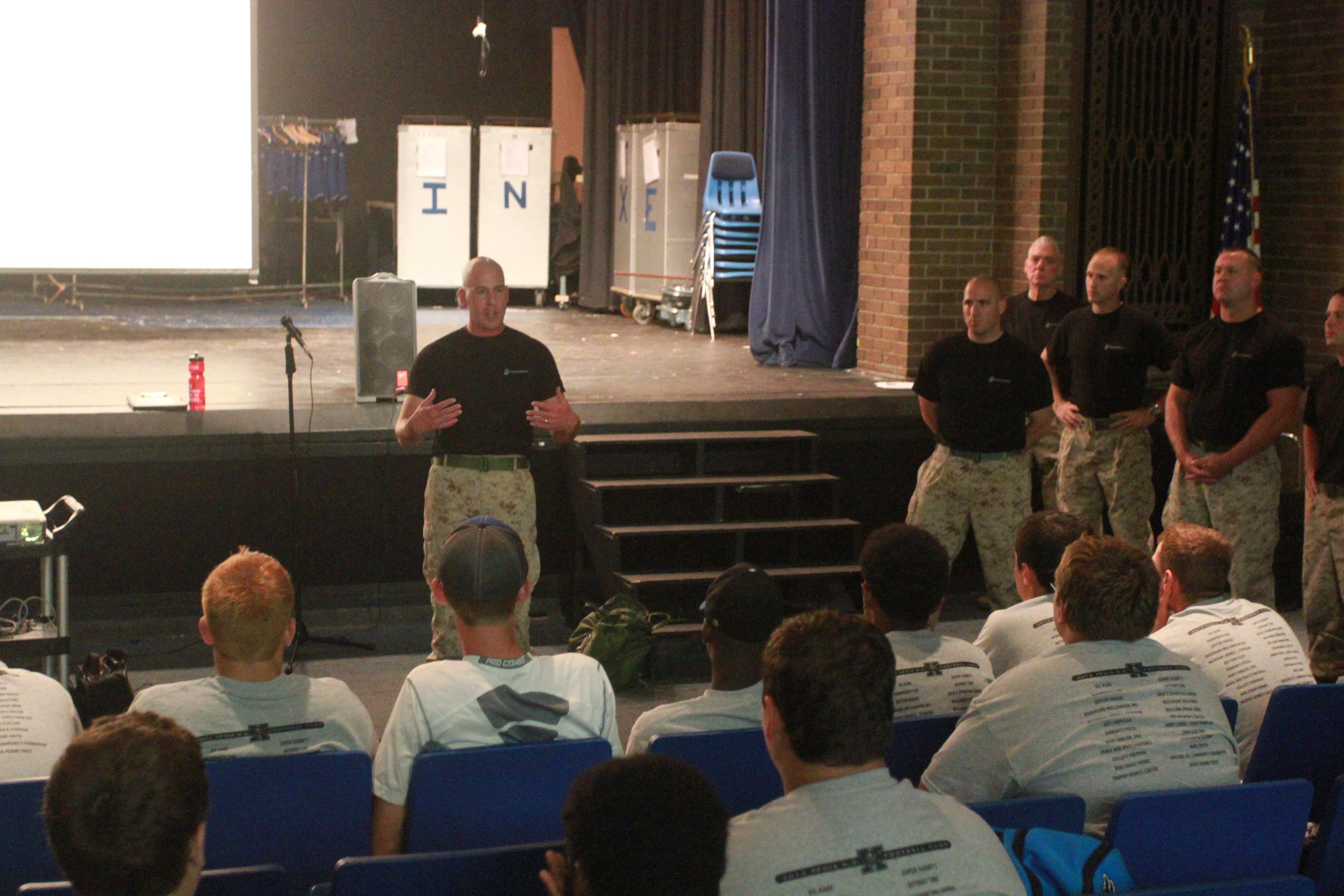 Marines conduct leadership seminar with Xenia HS Football Team