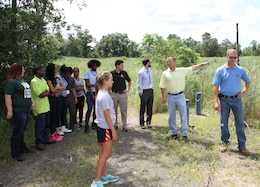Project Engineer Steve Creighton spoke with students about the history of environmental cleanup at the Vineland Chemical Company Superfund Site during a visit in August of 2014. The students are part of the Camden County Municipal Utilities Authority Green Intern Program.