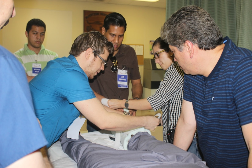 Joint Task Force-Bravo's Medical Element hosted the first Honduran Chapter of American College of Surgeon's Advanced Trauma Life Support training to train and certify physicians on standardized treatment of trauma patients, August 1-4, 2014.  Students attended lectures and hands-on training and then had to pass a written exam and graded scenarios.  (Courtesy Photo)
