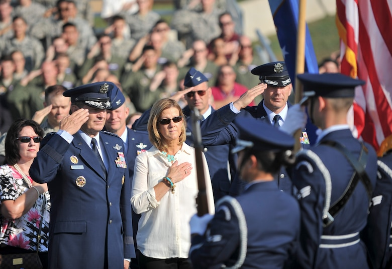 ALTUS AIR FORCE BASE, Okla. – Members of the 97th Air Mobility Wing Honor Guard present the colors during a KC-46 groundbreaking ceremony Aug. 7, 2014. The ceremony represented the beginning of construction for a flight training center, a fuselage training facility, new aircraft hangars and renovations for a combined squadron operations and aircraft maintenance unit facility. (U.S. Air Force photo by Senior Airman Dillon Davis/Released)