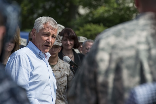 Defense Secretary Chuck Hagel answers questions after speaking to service members and reporters at U.S. European Command headquarters in Stuttgart, Germany, Aug. 6, 2014. DoD photo by Navy Petty Officer 2nd Class Sean Hurt