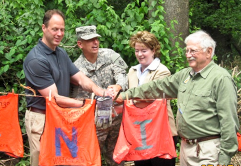 The U.S. Army Corps of Engineers Pittsburgh District commander saluted the efforts of Shenango River Watchers and other organizations during a recent trail dedication ceremony at the New Hamburg River Access Point at Shenango Lake.