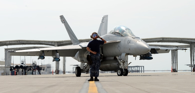 Navy Seaman Amy Martins, VFA 154 maintainer, salutes a F-18F Super Hornet as it taxis to take-off Aug. 8, 2014, at Mountain Home Air Force Base, Idaho. VFA 154, the Black Knights, were invited to come out and use the MHAFB range complex by the 389th Fighter Squadron, T-Bolts, as a way for both squadrons to perform combat training scenarios. (U.S. Air Force photo by Senior Airman Benjamin Sutton/Released)