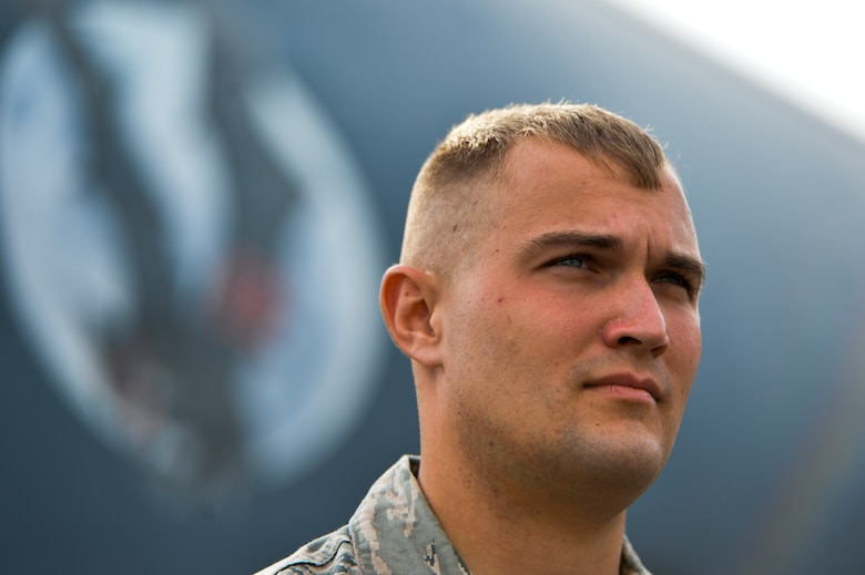 Senior Airman Brian Aupperle, 15th Aircraft Maintenance Unit assistant Dedicated Crew Chief, stands at parade rest on Hurlburt Field, Fla., Aug. 1, 2014. Aupperle was part of a DCC competition where the Airmen were judged on professionalism and knowledge of their career. (U.S. Air Force photo/Senior Airman Christopher Callaway)