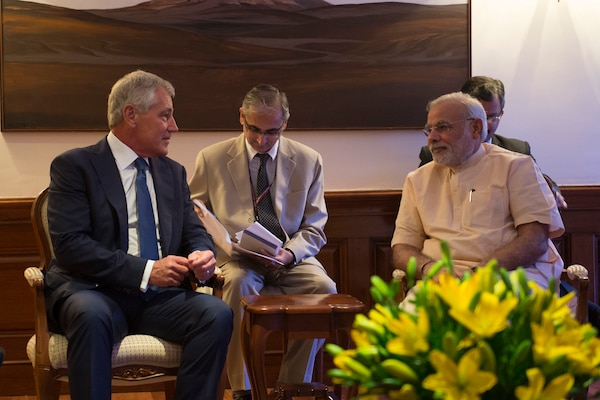 Defense Secretary Chuck Hagel meets in New Delhi with Indian Prime Minister Narendra Modi, right, Aug. 8, 2014. DoD photo by Navy Petty Officer 2nd Class Sean Hurt