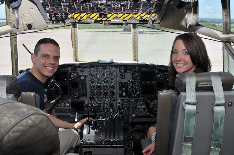 Assemblyman Angelo Santabarbara, 111th District, and Amy Amoroso, New York State Director of Veterans Business Outreach, sit in the cockpit of an LC-130 Skibird during a tour at Stratton Air National Guard Base, Scotia, New York, on Aug. 9, 2014.  (U.S. Air National Guard photo by Staff Sgt. Benjamin German/Released)