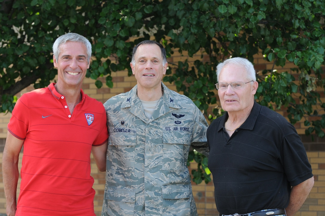 New York Air National Guard Col. Michael V. Comella, Commander of the 152nd Air Operations Group (AOG) is joined by former 152nd Commanders, Brig. Gen. David J. Coons (Right) and Col. Mark Murphy (retired) at Hancock Field in Syracuse, NY on 9 Aug. 2014.  The Commanders were enjoying the Inaugural 152 Alumni Open House.  (New York Air National Guard photo by Senior Airman Duane Morgan/Released)