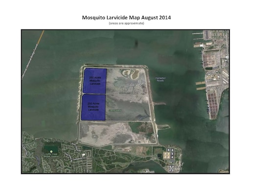 Norfolk District, U.S. Army Corps of Engineers, will conduct aerial mosquito spraying Friday, Sept. 26, over U.S. Army property at Craney Island in Portsmouth, Va.
