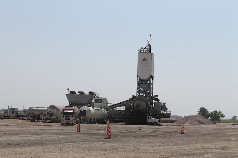The primary contractor, Sundt, and asphalt sub-contractor, Lagan, each brought batch plants onto the base and are working across the runway from the base's cantonment area, which reduces impacts from construction traffic, up to 200 trucks a day, to the city of Minot as well as on base.