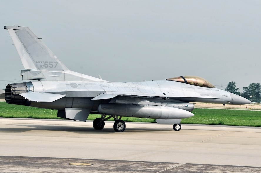 A Republic of Korea air force F-16, from the 161st Squadron, taxies to the runway during the Buddy Wing 14-6 exchange program on Osan Air Base, ROK, July 31, 2014. The program is an opportunity for U.S. Air Force and ROKAF pilots to interact during a smaller scale exercise. (U.S. Air Force photo by Senior Airman Matthew Lancaster)