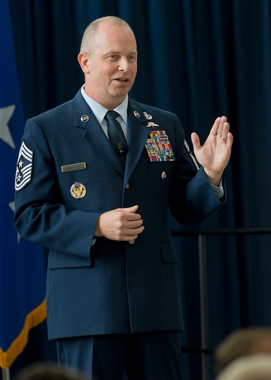 Chief Master Sgt. James W. Hotaling, the command chief master sergeant of the Air National Guard, addresses attendees during an All Call event Aug. 7, 2014 at Joint Base Andrews, Maryland. The purpose of the All Call is to recognize the ANG's Oustanding Airmen of the Year and it signifies the end to Focus on the Force Week, which gathers senior enlisted leaders to openly discuss concerns, receive feedback from the junior enlisted and tell the exceptional stories of ANG Airmen throughout the 50 states, territories and the District of Columbia. (Air National Guard photo by Master Sgt. Marvin R. Preston/Released)