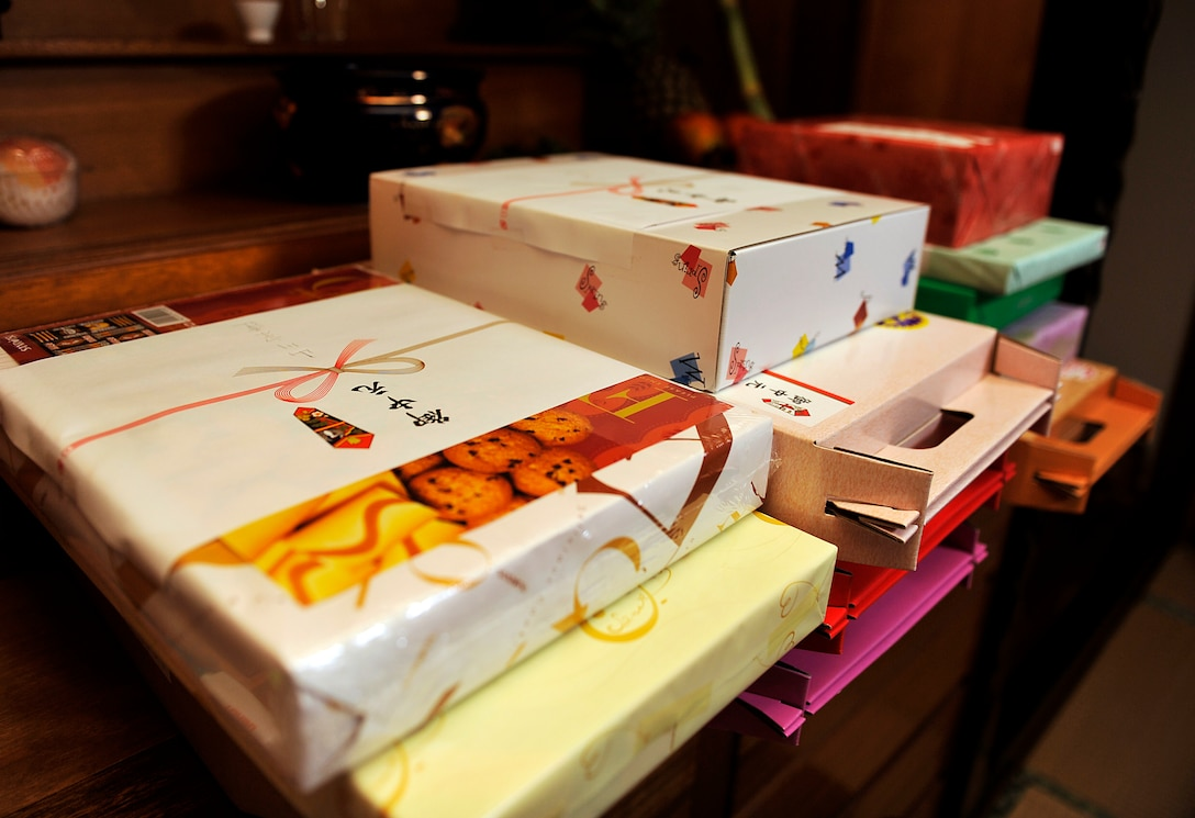 Ochugen gifts placed on the Butsudan during Obon at Yomitan village, Japan, Aug. 10, 2014. Another element of Obon season is Ochugen gift giving. This is a time for people to thank their relatives and those who have taken care of them daily. (U.S. Air Force photo by Naoto Anazawa)