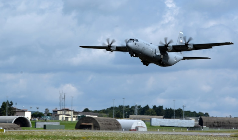 A C-130 Hercules takes off Aug. 9, 2014, from Spangdahlem Air Base, Germany, and is headed toward Souda Bay, Greece. Airmen from Spangdahlem AB will be supporting a bilateral training event with the Hellenic air force Aug. 11-23. (U.S. Air Force photo/Staff Sgt. Daryl Knee)