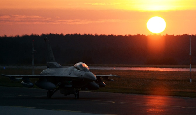 An F-16 Fighting Falcon taxis on the flightline Aug. 8, 2014, at Spangdahlem Air Base, Germany. The jet was departing for Souda Bay, Greece, and will be supporting a bilateral training event with the Hellenic air force Aug. 11-23. Nearly 20 aircraft left Spangdahlem AB in support of the training, which aims to enhance the capabilities of both air forces. The F-16 is assigned to the 480th Fighter Squadron. (U.S. Air Force photo/Staff Sgt. Daryl Knee)