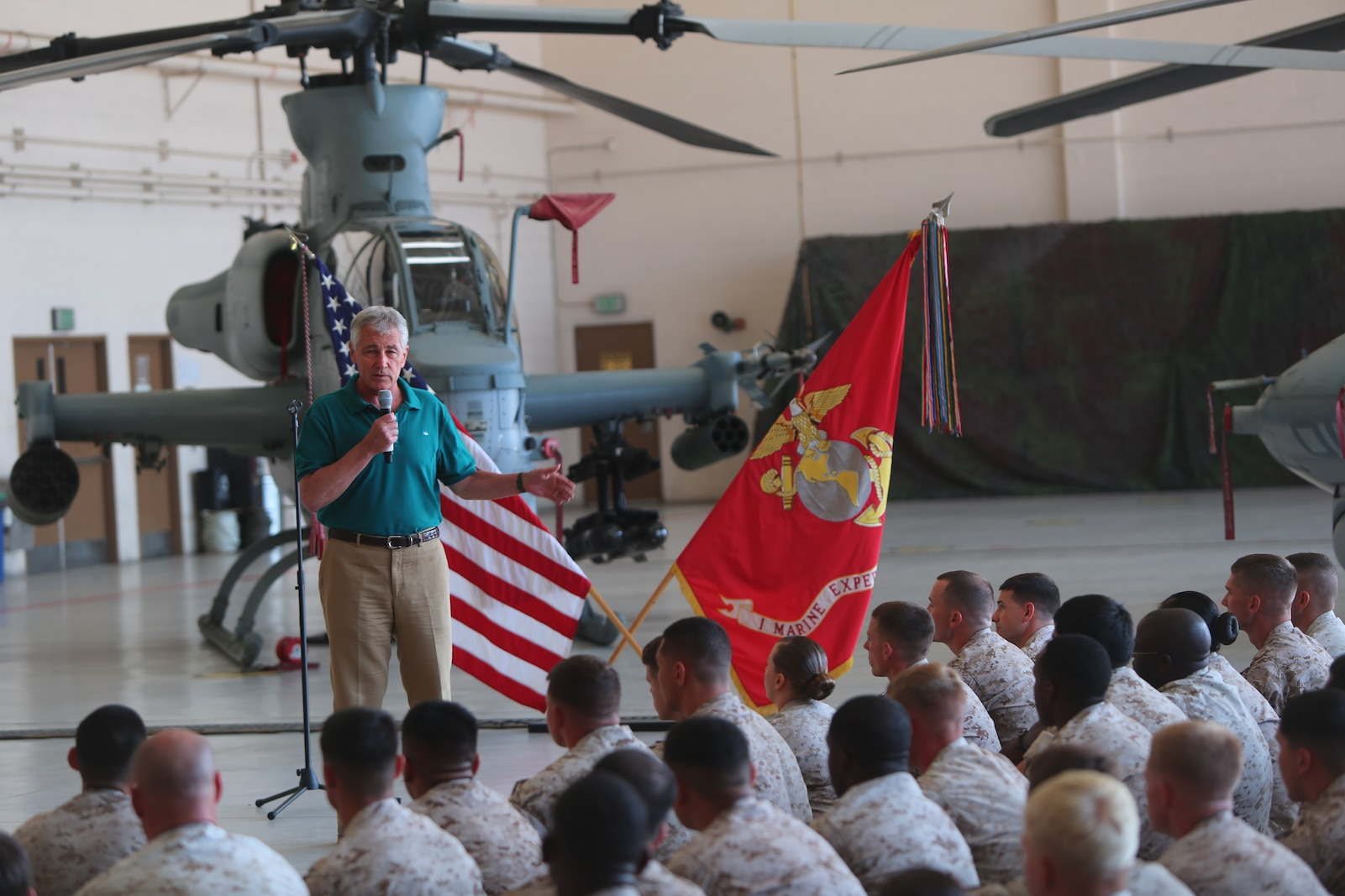 The U.S. Secretary of Defense, Chuck Hagel, speaks during a town hall meeting aboard Marine Corps Base Camp Pendleton Calif., Aug. 12, 2014. The purpose of his visit was to thank our service members and their families for their contribution to our nation and reinforce his commitment to the defense of the nation.