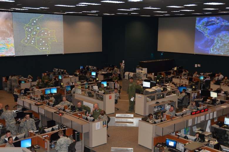 A rare look inside the Gen. James H. Doolittle Combined Air and Space Operations Center facility at Davis-Monthan Air Force Base, Ariz. The facility is currently being using to support the U.S. Southern Command-sponsored PANAMAX 2014 exercise series that focuses on ensuring the defense of the Panama Canal.  Forces from 17 nations will take part in simulated training scenarios in the waters around the canal and other locations. (USAF photo by Tech. Sgt. Heather Redman/Released).
