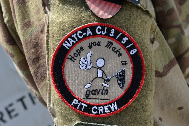 """A popular morale patch crafted from the four-letter note a boy named Gavin sent on a holiday card - """"Hope you make it."""" The boy's note continues to amuse and inspire many deployed members at Forward Operating Base Oqab, Kabul, Afghanistan. (U.S. Air Force photo/Senior Master Sgt. Mike Hammond)"""
