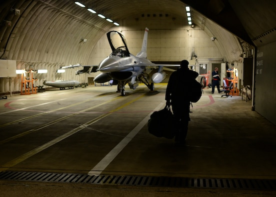 U.S. Air Force Capt. Taylor Blevins, a U.S. Air Force F-16 Fighting Falcon fighter aircraft pilot from the 480th Fighter Squadron at Spangdahlem Air Base, Germany, walks toward his jet in a hardened aircraft shelter Aug. 8, 2014, before leaving for a training event in Souda Bay, Greece, Aug. 11-23. Nearly 20 aircraft from Spangdahlem are participating in this training event, which aims to maintain regional peace and stability throughout Europe. (U.S. Air Force photo by Staff Sgt. Daryl Knee/Released)