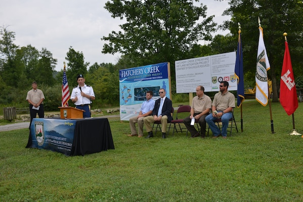 Lt. Col. John L. Hudson, Nashville District commander, speaks to a crowd at a ceremony today marking the groundbreaking for a $1.8 million Wolf Creek Hatchery Wetland and Stream Mitigation Program project below the Wolf Creek National Fish Hatchery on Aug. 8, 2014.