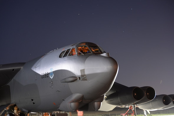 Airmen from the 96th Bomb Squadron, prepare a B-52H Stratofortress for takeoff at Ellsworth Air Force Base, South Dakota, prior to a 15.5-hour sortie to the U.S. Southern Command area of operations Aug. 11, 2014. Assigned to the 2nd Bomb Wing, Barksdale Air Force Base, Louisiana, the aircraft and seven-person aircrew participated in PANAMAX 2014, an annual U.S. Southern Command-sponsored exercise designed to provide multinational interoperability training in complex operations. (U.S. Air Force photo by Airman 1st Class Rebecca Imwalle)