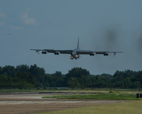 A B-52H Stratofortress returns home to Barksdale Air Force Base, Louisiana, Aug. 12, 2014 following a 15.5-hour sortie from the United States to the U.S. Southern Command area of operations during PANAMAX 2014. An annual U.S. Southern Command-sponsored multinational exercise, PANAMAX focuses on ensuring the defense of the Panama Canal. (U.S. Air Force photo/Senior Airman Benjamin Gonsier)