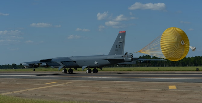 A B52-H Stratofortress lands at Barksdale Air Force Base, Louisiana, after a 15.5-hour nonstop sortie from the United States to the U.S. Southern Command area of responsibility Aug. 12, 2014. The long-range intelligence, surveillance and reconnaissance mission was part of a scenario to defend the Panama canal from myriad threats during PANAMAX 2014, a multinational U.S. Southern Command-sponsored exercise.  (U.S. Air Force photo/Senior Airman Benjamin Gonsier)