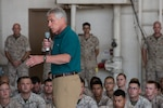 Defense Secretary Chuck Hagel speaks to Marines stationed on Camp Pendleton, Calif., Aug. 12, 2014, after returning to the United States from a trip to Germany, India and Australia. DoD photo by Navy Petty Officer 2nd Class Sean Hurt