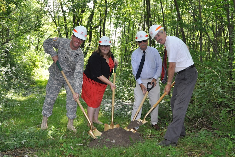 Ground was broken on the Canadaway Creek Sewer Line Protection Project, Dunkirk, NY, August 12, 2014. (Left to Right: U.S. Army Corps of Engineers, Buffalo District Commander LTC Karl Jansen,Congressmen Reed's representative Jacquelyn Chiarot, Village of Fredonia Mayor Steve Keefe, and State Assemblyman Andrew Goodell) 