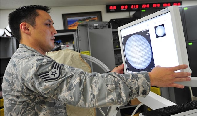 Staff Sgt. Paul Kerkman checks to make sure proper calibration is exhibited on an x-ray monitor  Aug. 1, 2014, at Misawa Air Base, Japan. Providers rely heavily on biomedical equipment technicians to service equipment to ensure 100 percent patient care. Kerkman is the 35th Medical Support Squadron NCO in charge of medical maintenance. (U.S. Air Force photo/Senior Airman Jose L. Hernandez-Domitilo)