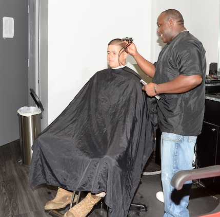 American Clipper barbers provide haircuts to customers aboard Marine Corps Logistics Base Albany, recently. American Clipper is located in the Marine Corps Exchange.