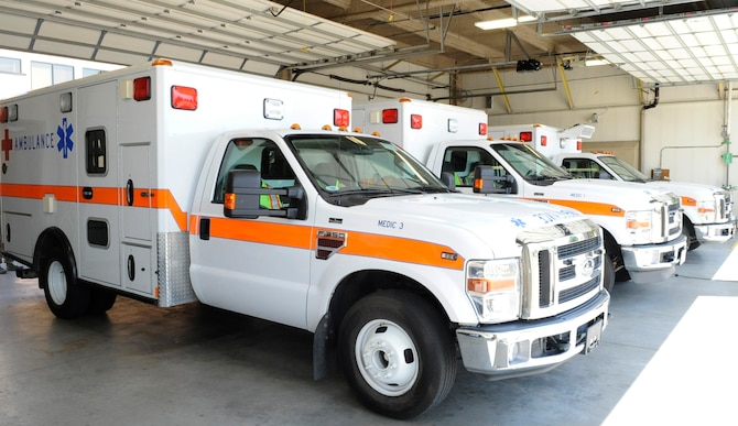 Ambulances are stocked and ready to be utilized during an emergency, Aug. 1, 2014, at Mountain Home Air Force Base, Idaho. The staffed ambulance and UCC with in-house physicians is open 24-hours a day. (U.S. Air Force photo by Senior Airman Caitlin Guinazu/RELEASED)