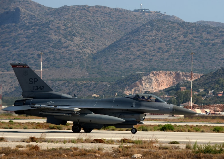 A U.S. Air Force F-16 Fighting Falcon fighter aircraft pilot from the 480th Fighter Squadron taxis to the end of the flightline prior to his launch at Souda Bay, Greece, during a training event Aug. 12, 2014. The U.S. pilots worked with the Hellenic air force in air to complete various training objectives. (U.S. Air Force photo by Staff Sgt. Daryl Knee/Released)