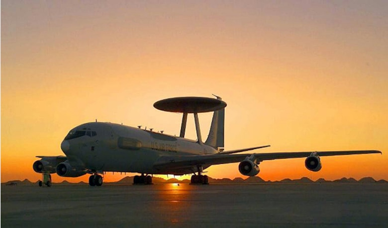 An E-3G Sentry, an Airborne Warning and Control System aircraft, sits on a flightline. In support of air-to-ground operations, Sentry crews can provide direct information needed for interdiction, reconnaissance, airlift and close air support for friendly ground forces. They can also provide information for commanders of air operations to gain and maintain control of the air battle. (Courtesy photo)