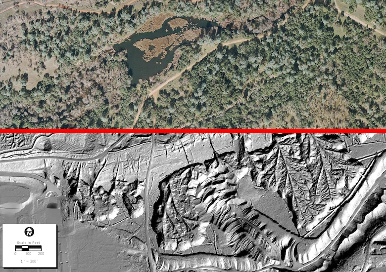 """LiDAR laser imaging allows archaeologists to view land features hidden by heavy vegetation, as demonstrated in this image comparison. The top half of the image is standard aerial photography, whereas the LiDAR image in the bottom half exposes evidence of tailings and other erosive actions from hydraulic mining in property adjacent to the """"Folsom South of 50"""" project. (Imagery courtesy of ECORP Consulting, Inc. and Easton Development Company)"""