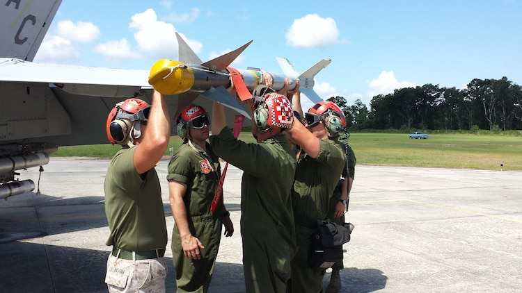 Marine Fighter Attack Squadron 312 and Marine All-Weather Fighter Attack Squadron 533 conducted a live missile shoot for training, July 21 through 25. Ordnance used during the training includes the AIM-9 Sidewinder, AIM-120, LUU-2 flare, and AGM-88.