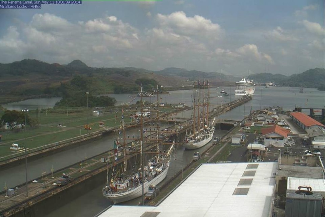 PANAMA CANAL, PANAMA -- View of ships traveling through the Miraflores Locks, May 11, 2014.